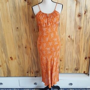 Angie Orange And White Maxi Dress